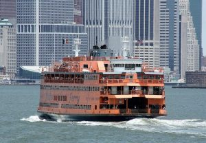 Ferry boat on its way from Staten Island to Manhattan. - NYC Boroughs you must visit.