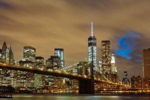 Brooklyn Bridge by night.