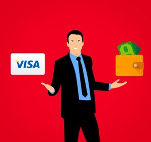Man holding a visa card and a wallet. - trying to compare moving companies by their affordability