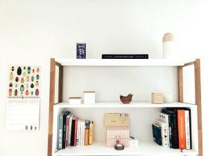 Shelves on a white wall