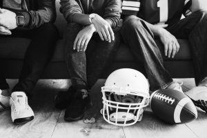 Living with a roommate - a helmet and a football ball