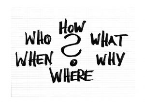 Many questions on a white screen - who, how, what, when, why where