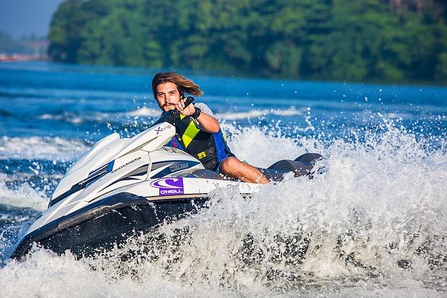 A man driving a jet ski.