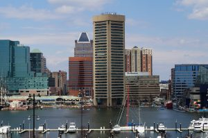 The beautiful city of Baltimore, that you'll get to enjoy after moving to Maryland.