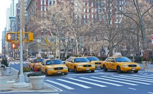 New York street covered with yellow cabs.