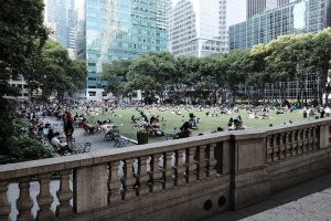 Bryant Park filled with people during daytime.