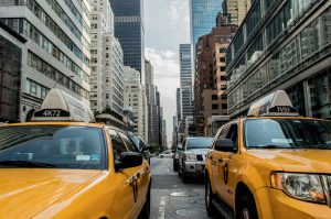 Yellow cabs in one of the New York streets.