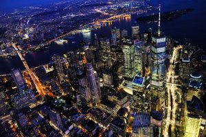 A New York skyline.