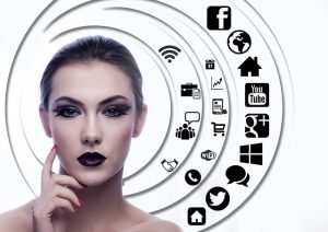 A girl with makeup thinking about social media.