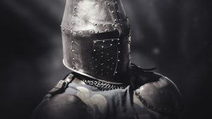 A warrior knight with a crusader helmet.