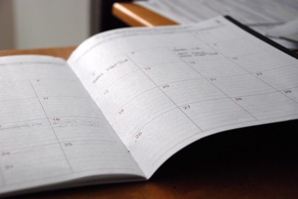 A day planner to help you organize when moving from your home office to the outside world.