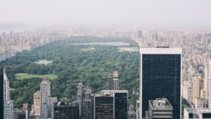 Central Park view from the air.