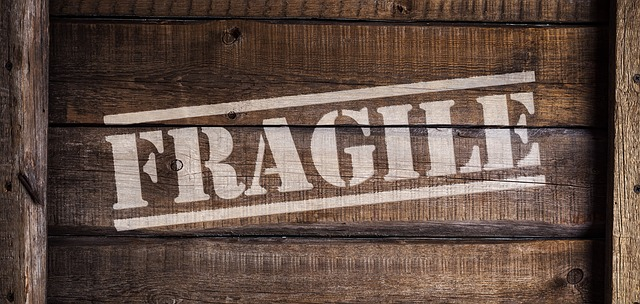 a wooden crate labeled fragile