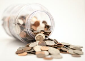 an image of a jar with pennies inside